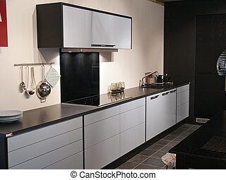 moderno, trendy, disegno, nero bianco, cucina