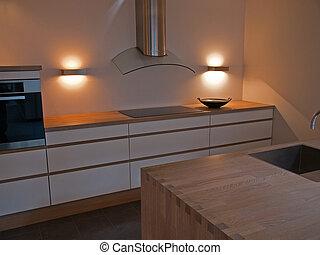 moderno, trendy, pulito, disegno, legno, cucina