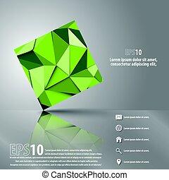moderno, triangolo, astratto, oggetto, vettore, fondo, 3d