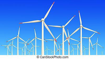 moderno, turbine vento, verde, energia