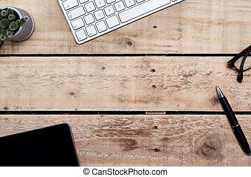 moderno, ufficio, legno, lavoro, creativo, oggetti, alto, scrivania, posto, tavola, vista