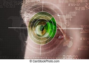 moderno, uomo, con, cyber, tecnologia, bersaglio, militare, occhio