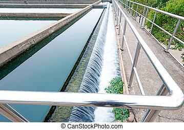 moderno, urbano, wastewater, pianta trattamento