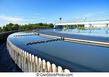 moderno, urbano, wastewater, tratamiento, plant.