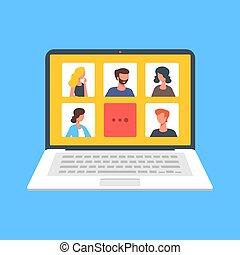 moderno, vector, concepts., comunicación, gente, webinar, charla, hablar, ilustración, design., plano, en línea, llamada, screen., technology., conferencia, computador portatil, tela, vídeo