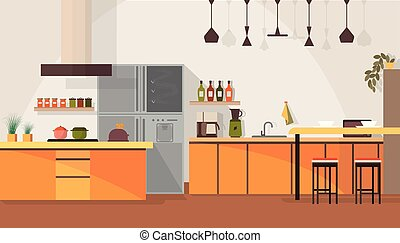 moderno, vector, diseño, interior, caricatura, cocina