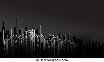 moderno, vector, oscuridad, noche, ciudad, horizonte, scape, raspador cielo, fondo., arquitectónico, empresa / negocio, edificio