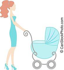 moderno, vendemmia, mamma, carrello, silhouette, vendita, vettore, linea, negozio bimbo, logotipo