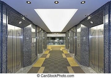 moderno, vestíbulo, elevador