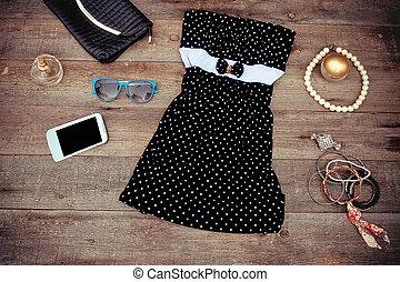 moderno, vestido, y, accesorios