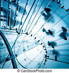 moderno, vetro, scala