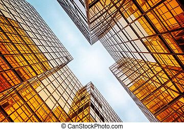 moderno, vidrio azul, pared, de, edificio de oficinas