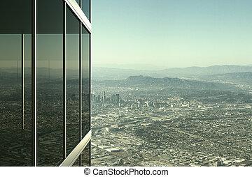 moderno, vidrio, edificio de oficinas