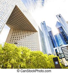 moderno, vidrio, edificios, en, defensa del la, distrito, en, parís