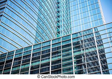 moderno, vidrio, rascacielos, primer plano