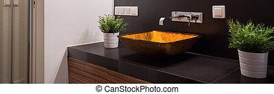 moderno, washbowl, en, lujo, servicio