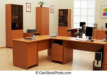 moderno, y, luz, oficina
