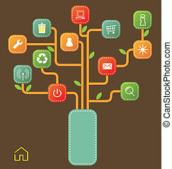 modernos, árvore, ícones
