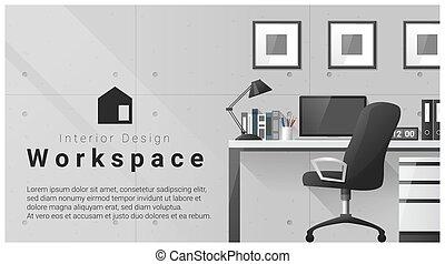 modernos, 3, desenho, local trabalho, fundo, interior