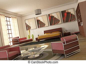 modernos, abertos, livingroom., espaço, quarto