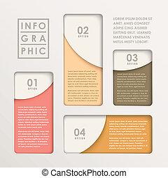 modernos, abstratos, papel, mapa barra, infographic