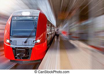 modernos, alta velocidade, train.