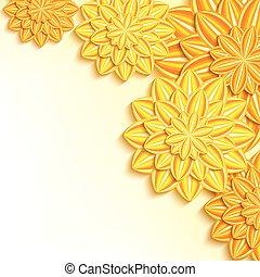 modernos, amarela, papel, fundo, laranja floresce, 3d