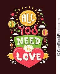 modernos, apartamento, desenho, hipster, ilustração, com, frase, tudo, tu, necessidade, é, amor