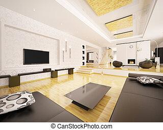 modernos, apartamento, interior, 3d, render