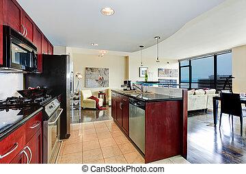 modernos, apartamento, interior.