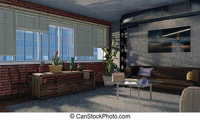 modernos, apartamento sótão, projeto interior, 3d, render