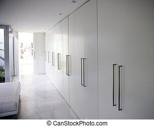 modernos, armário, contemporâneo, longo, corredor, branca