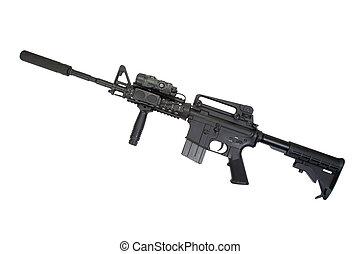 modernos, arma, isolado, silenciador, fundo, branca