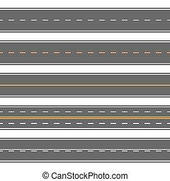modernos, asfalto, direito, repetitivo, seamless, rodovias, horizontais, roads.