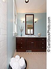 modernos, azul, fresco, novo, banheiro