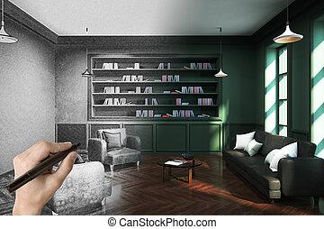 modernos, biblioteca, escritório, mão