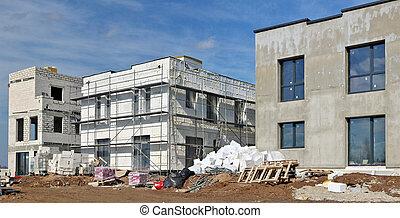 modernos, blocos, espuma, houses., térmico, usado, isolação, novo, tecnologias