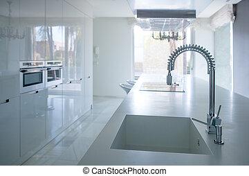 modernos, branca, cozinha, perspectiva, com, integrada, banco