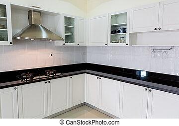 modernos, branca, limpo, cozinha, interior