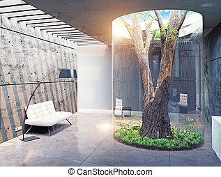 modernos, casa, interior