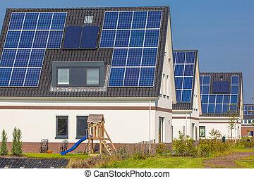 modernos, casas, rua, solar, novo, painéis