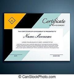 modernos, certificado, desenho, em, amarela, formas geométricas