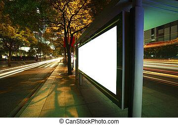 modernos, cidade, anunciando, luz, caixas
