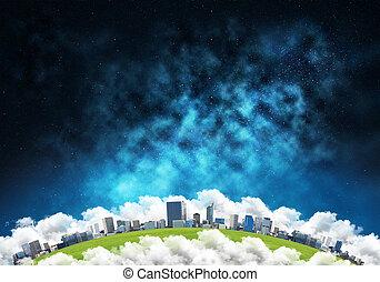 modernos, cidade, espaço, vista.