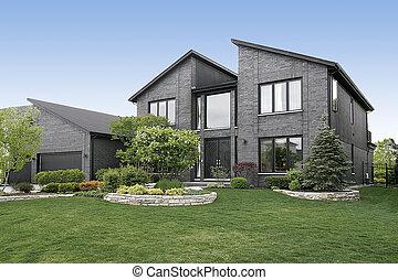 modernos, cinzento, tijolo, lar
