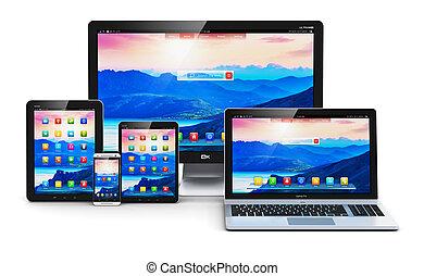 modernos, computador, dispositivos