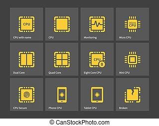 modernos, computador, processador, icons.