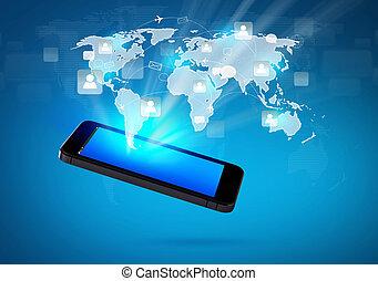 modernos, comunicação, tecnologia, telefone móvel, com, social, rede