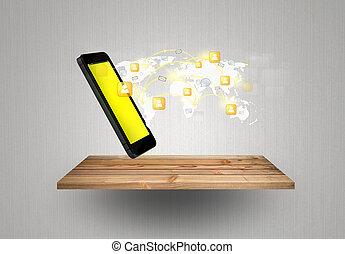 modernos, comunicação, tecnologia, telefone móvel, mostrar, a, social, rede, ligado, madeira, prateleira