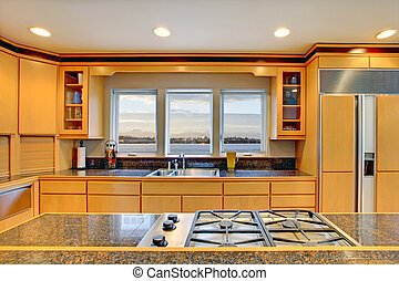 modernos, contador, grande, madeira, luxo, granito, tops., cozinha